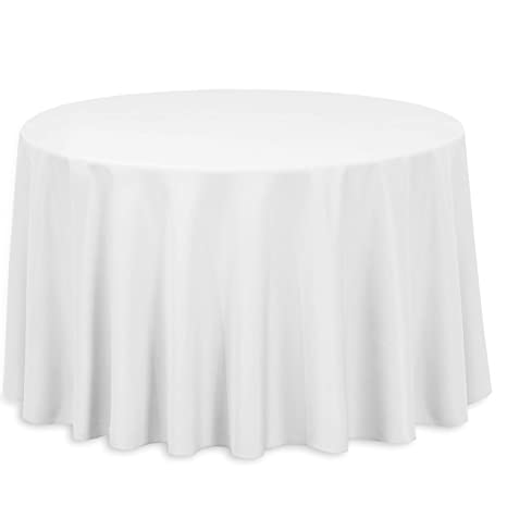 Outstanding Linentablecloth 108 Inch Round Polyester Tablecloth White Beutiful Home Inspiration Ommitmahrainfo