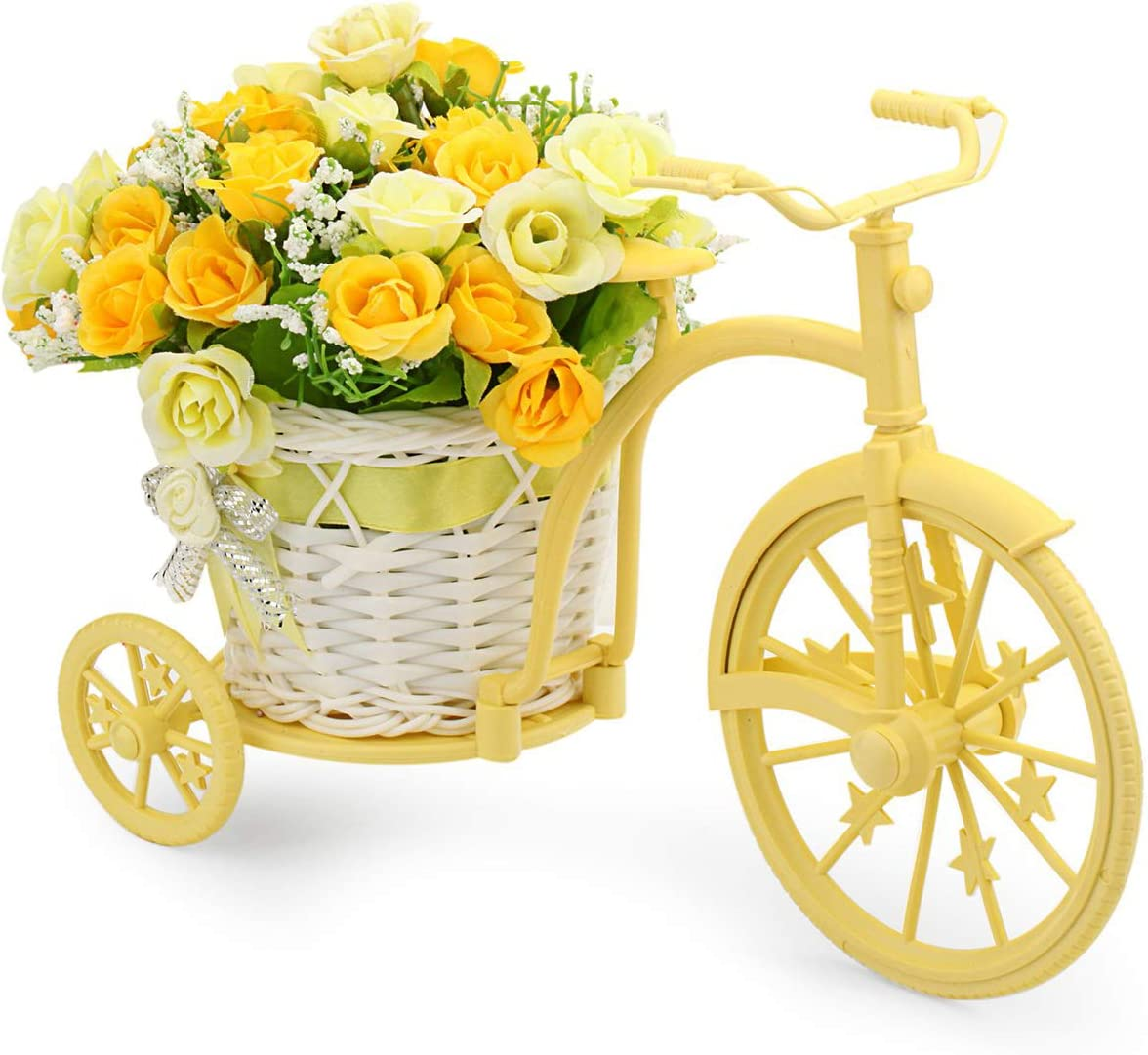 CN-Culture Nostalgic Bicycle Artificial Flower Decor Plant Stand (Yellow)