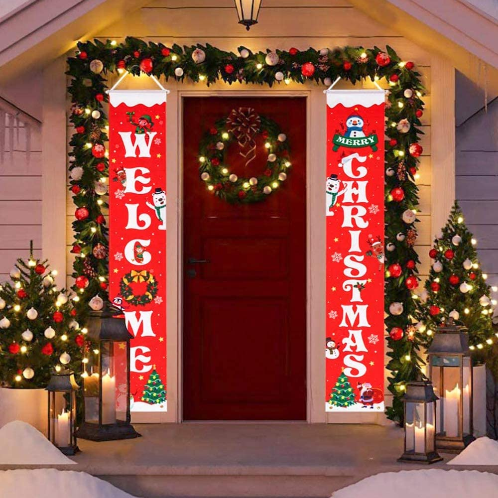 """HBlife Merry Christmas Banner Christmas Decoration Outdoor & Indoor Welcome Christmas Porch Sign 12"""" x 72"""", Christmas Banner Red Xmas Decor Banners for Home Decor"""