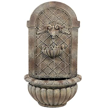 Sunnydaze Venetian Solar Outdoor Wall Fountain, Florentine Stone,Solar Only  Feature