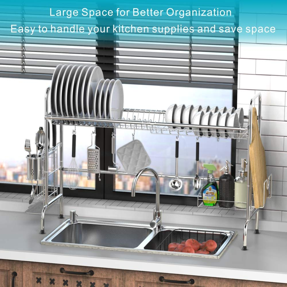 Over the Sink Dish Drying Rack, iSPECLE Large Premium 201 Stainless Steel Dish Rack with Utensil Holder Hooks for Kitchen Counter Non-slip by iSPECLE (Image #4)