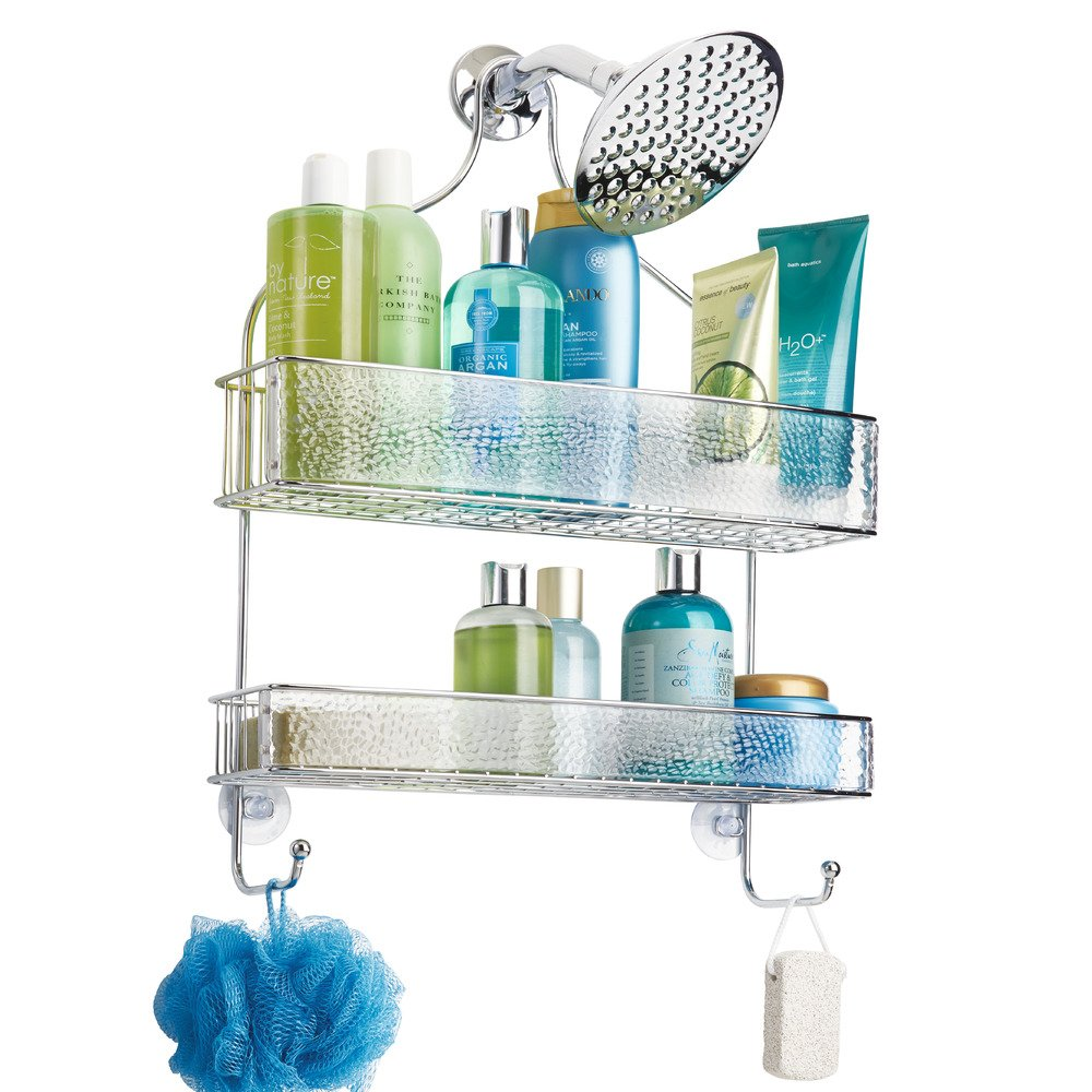 InterDesign Rain Hanging Shower Caddy – Wide Bathroom Storage Shelves for Shampoo, Conditioner and Soap, Clear/Chrome by InterDesign (Image #3)