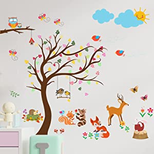 Yovkky Woodland Animal Wall Decals, Forest Tree Deer Fox Owl Peel and Stick Wall Sticker Butterfly Bird Flower Nursery Decor, Home Kitchen Play Living Room Bedroom Decoration Boy Girl Kid Party Supply