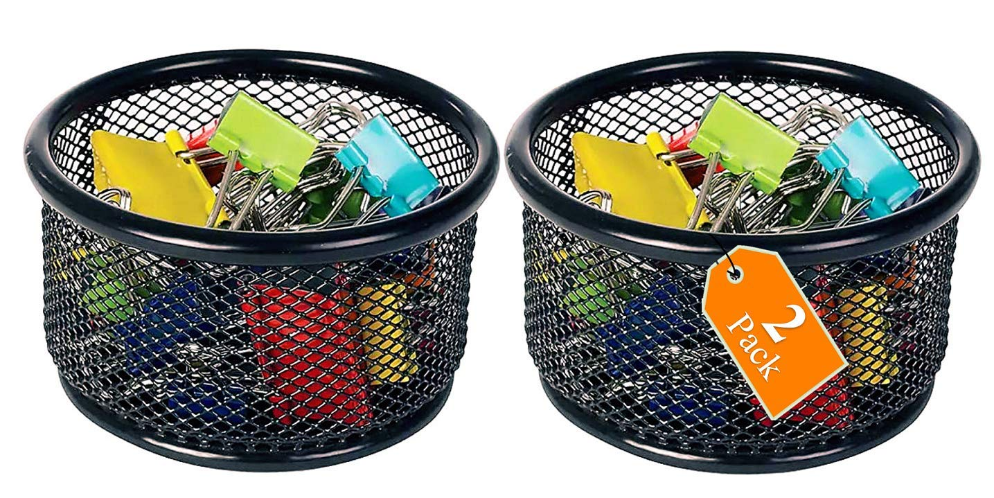 1InTheOffice Mesh Paper Clip Holder for Desk 2 Pack Paperclip Holder