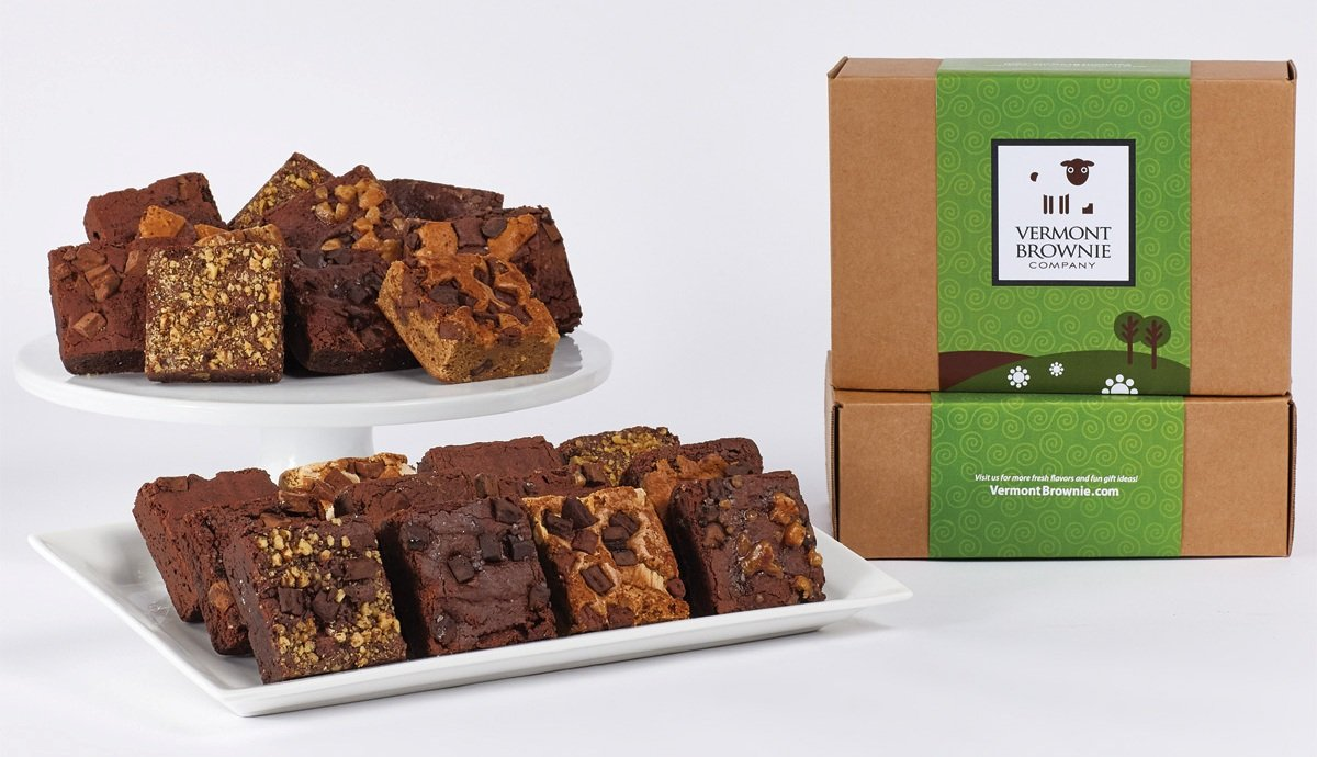 Amazon.com : Gourmet Brownie Gift Sampler - 12 Full Size Brownies - Green Gift Box : Grocery & Gourmet Food