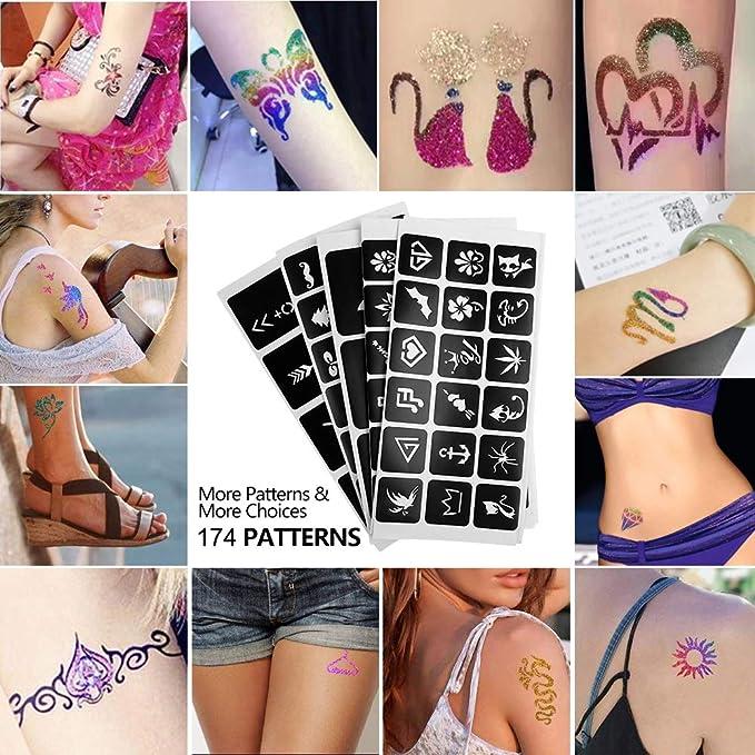 VSADEY Kit de Tatuajes Temporales, Tatuaje de Brillo con 24 ...
