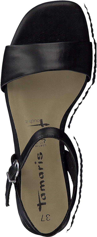 Tamaris Femme Sandales 28100-24, Dame Sandale à lanières Black Leather Noir