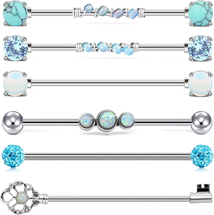 industrial barbell,star industrial barbell,14k gold friendship piercing earrings