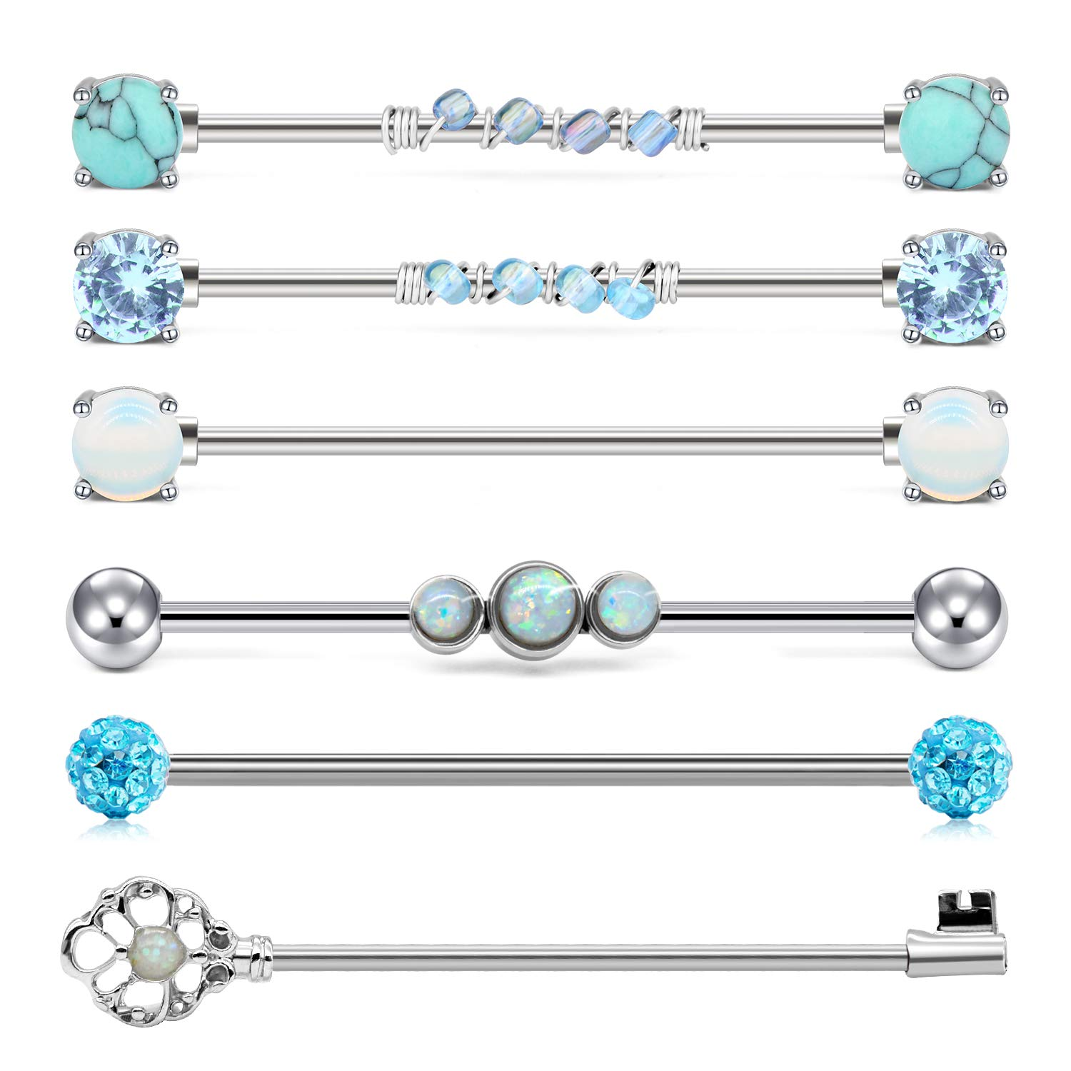 QWALIT Industrial Barbell 14G Cartilage Earrings Surgical Stainless Steel Scaffold Piercings Arrow Turquoise Industrial Piercing Jewelry Bar 38mm 35mm for Women Men by QWALIT