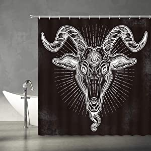 "XZMAN Black and White Shower Curtain Demon Baphomet Satanic Goat Head Eyes Tattoo Retro Polyester Fabric Bathroom Decor Set Include Hooks,(70"" WX70 H)"