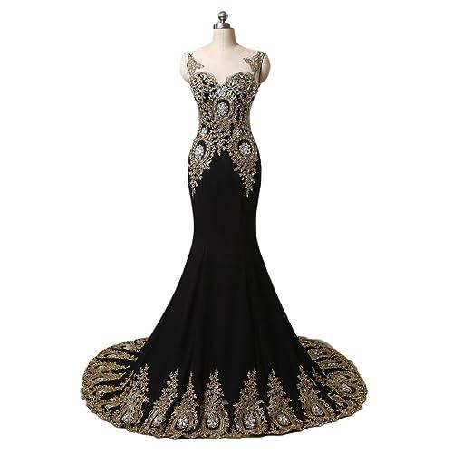 Black and Gold Mermaid Prom Dress: Amazon.com