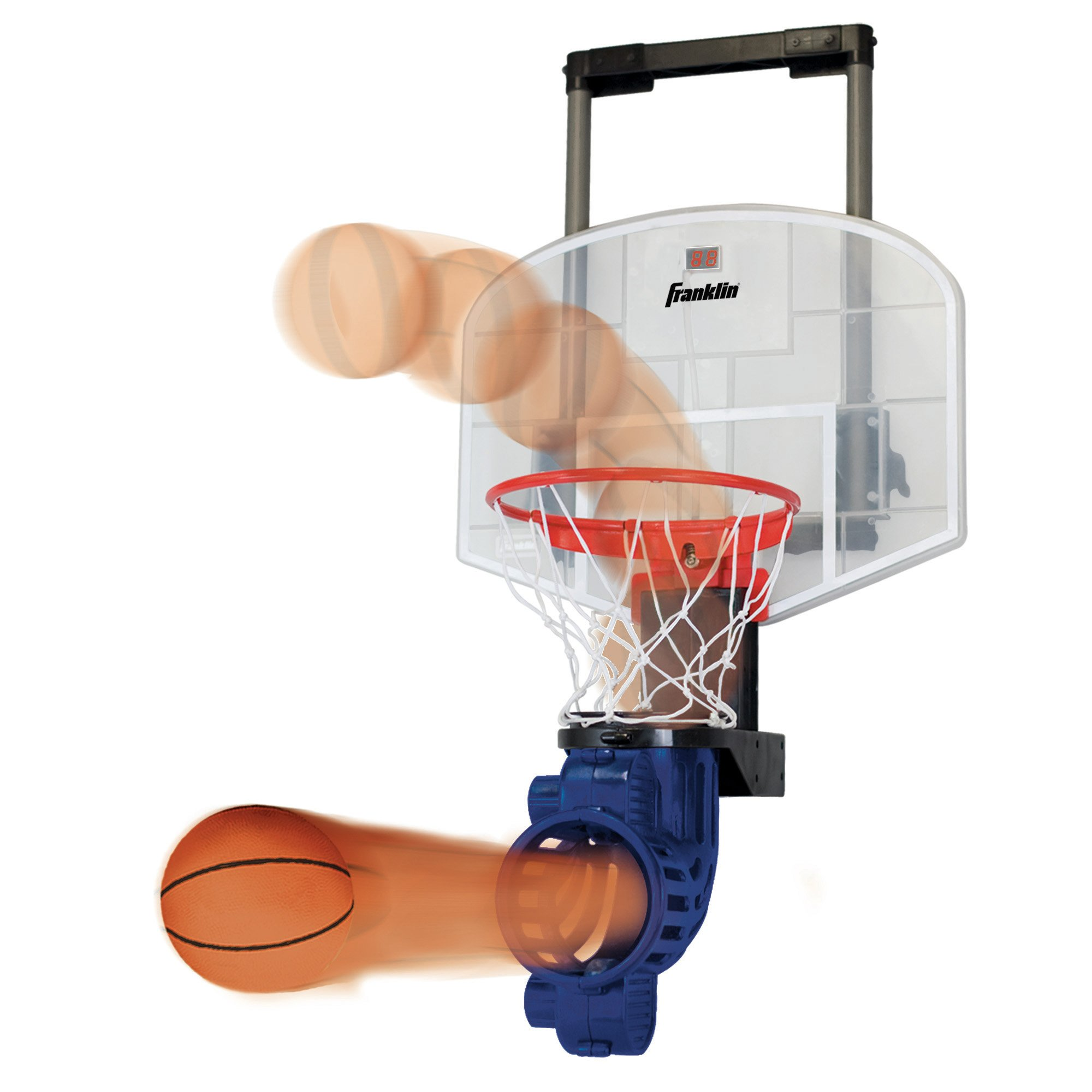 Franklin Sports Mini Basketball Hoop with Rebounder and Ball - Over The Door Basketball Hoop With Automatic Ball Rebounder - Indoor Basketball Game For Kids - Includes Foam Basketball by Franklin Sports