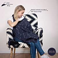 Cotton Nursing Cover – Large Breastfeeding Cover with Built-in Burp Cloth & Pocket – Soft, Breathable, Chemical-Free, 360° Coverage, Multiuse Nursing Cover by San Francisco Baby - Black