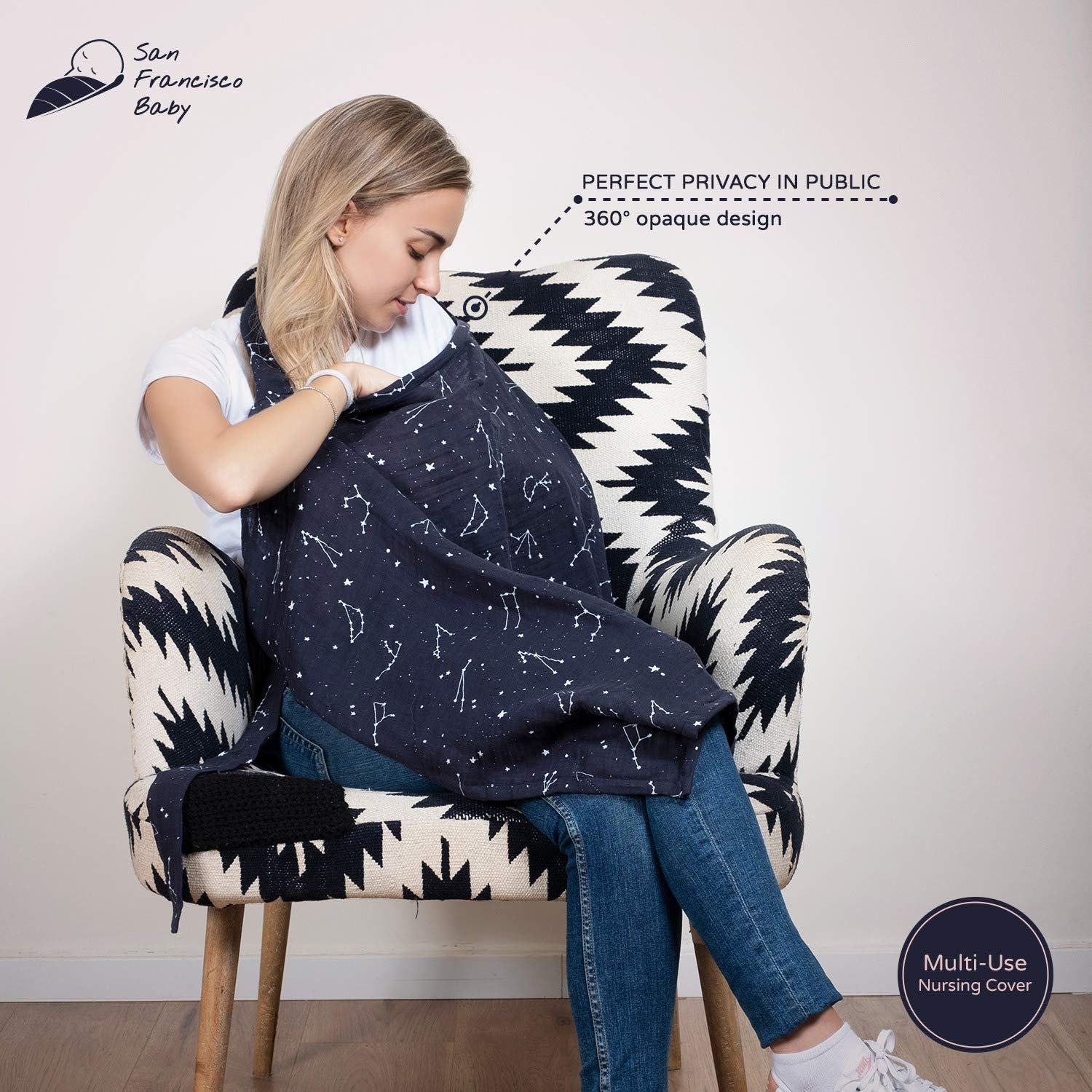 Cotton Muslin Nursing Cover - Large Breastfeeding Cover with Built-in Burp Cloth & Pocket - Soft, Breathable, Chemical-Free, 360° Coverage, Multiuse Nursing Cover by San Francisco Baby - Black by San Francisco Baby