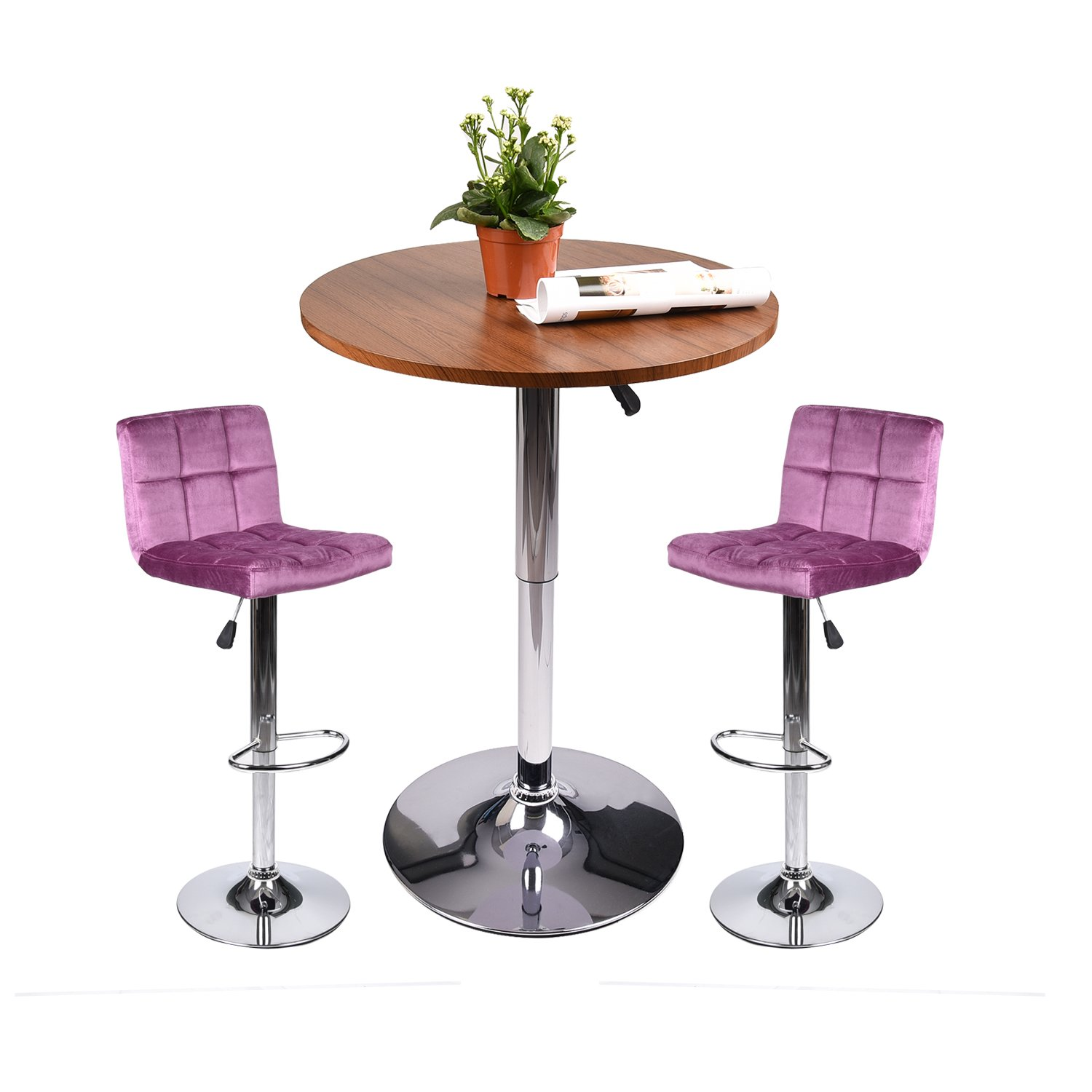 Elecwish Pub Table with Bar Stools Set for Kitchen Home Dining Room (Amaranth Set A)