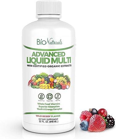 Bio Naturals Liquid Multivitamin for Men & Women with 200 Nutrients - Immune Support - Vitamins A B C D3 E, Zinc, Minerals & Organic Extracts - 32 oz