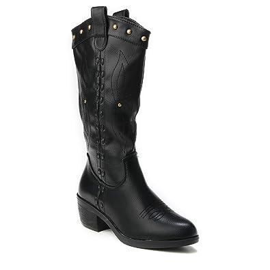 e529698d846ee2 HERIXO Damen Schuhe Stiefel Stiefeletten Cowboy Western Boots hoch Ziernaht  Nieten Cowboystiefel Blockabsatz Breiter Absatz Langschaftstiefel   Amazon.de  ...