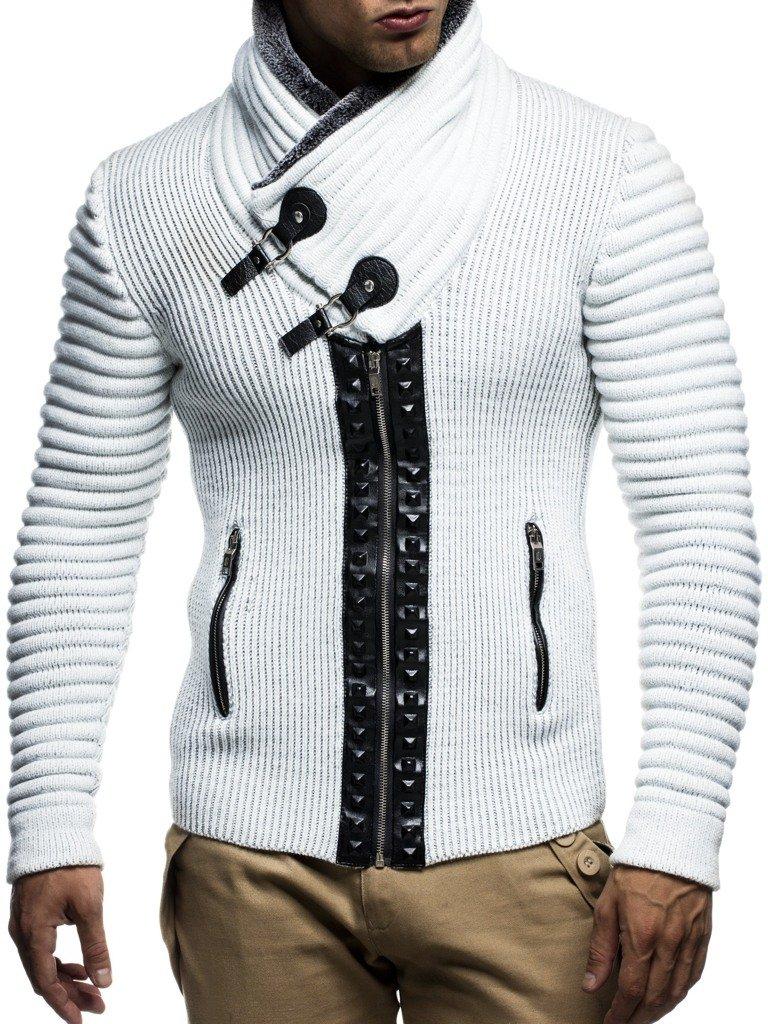 Leif nelon LN5165 Mens Cardigan With Stud Details and Zip Front,Ecru Grey,US-S,EU-M
