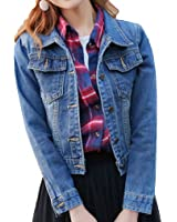 Plus Size S~4XL Short Denim Jacket For Women Solid Long Sleeve Casaco Feminino Street