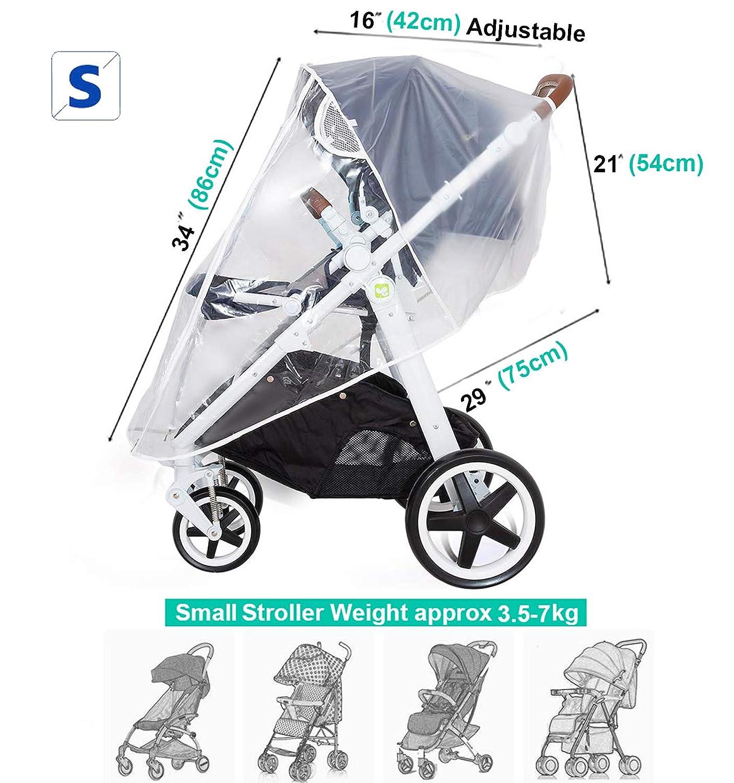 Baby Kinderwagen Glasklar EVA Regenschutz mit Rei/ßverschluss|PVC frei|Augenschutz Fenster Schwarz-M Universal Regenschutz f/ür Kinderwagen Gute Luftzirkulation|Tragetasche|Virus Isolierung
