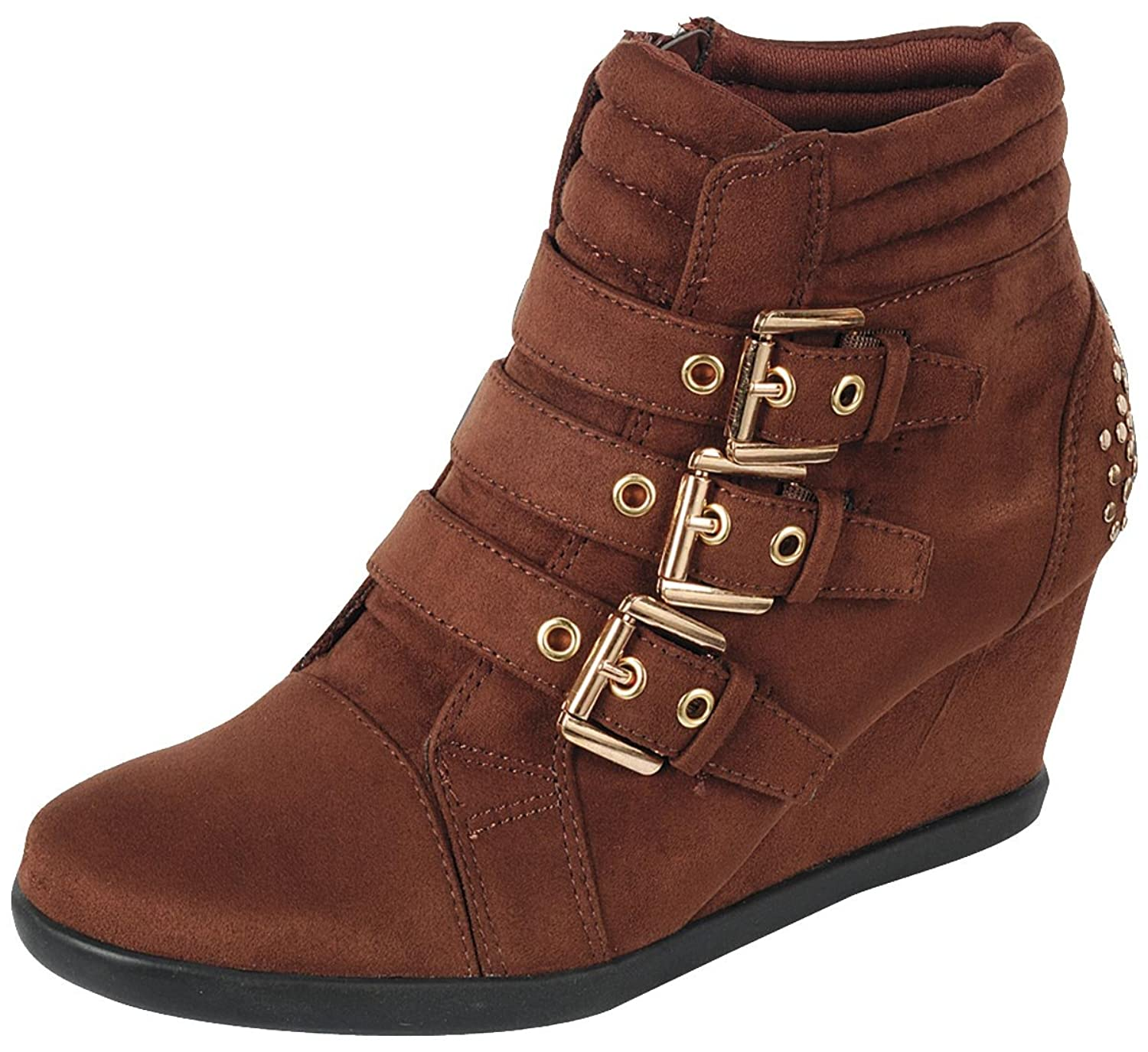 Forever Link Womens Buckle Accent Wedge Fashion Sneaker  B074F4YC7Z