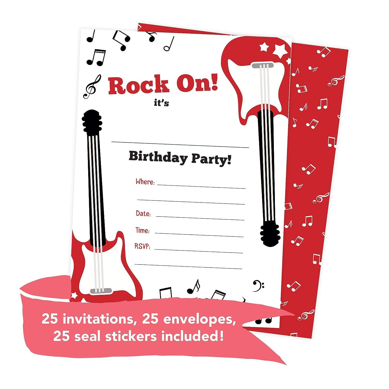 Amazon.com: Guitar 2 Music Happy Birthday Invitations Invite Cards ...
