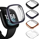 ZEBRE [4-Pack] Screen Protector Case Compatible with Fitbit Sense/Versa 3, TPU Rugged Bumper Case Cover All-Around Protective