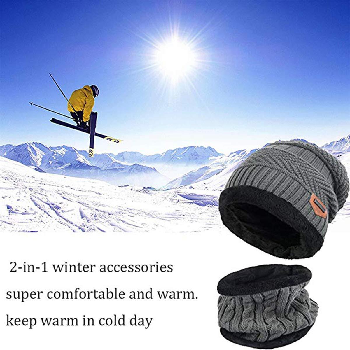 Kata Berretto Uomo Invernali Cappello Beanie in Maglia Sciarpe da Sci con Sciarpa  Cappello Passamontagna b0820091ad70