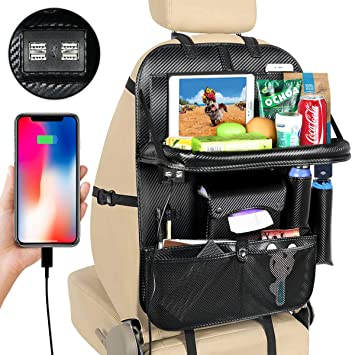 xrime Car seatback Organizer and Protector with Table Tray and iPad Holder High/quality PU Leather Automobile Seat Organizer with Foldable Dining Table Tissue Box and Water Bottle Holder Great Travel Accessory for Kids beige*1