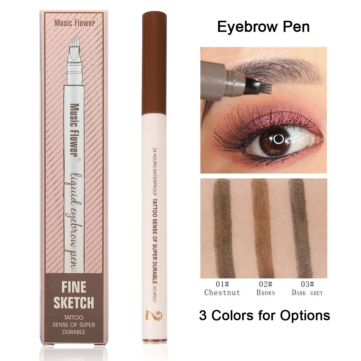 Microblading Eyebrow Pen, Natural Look Sweat-proof Long-lasting Liquid Eyebrow Pen with 4-Tips for Eyes Makeup (02 Brown)