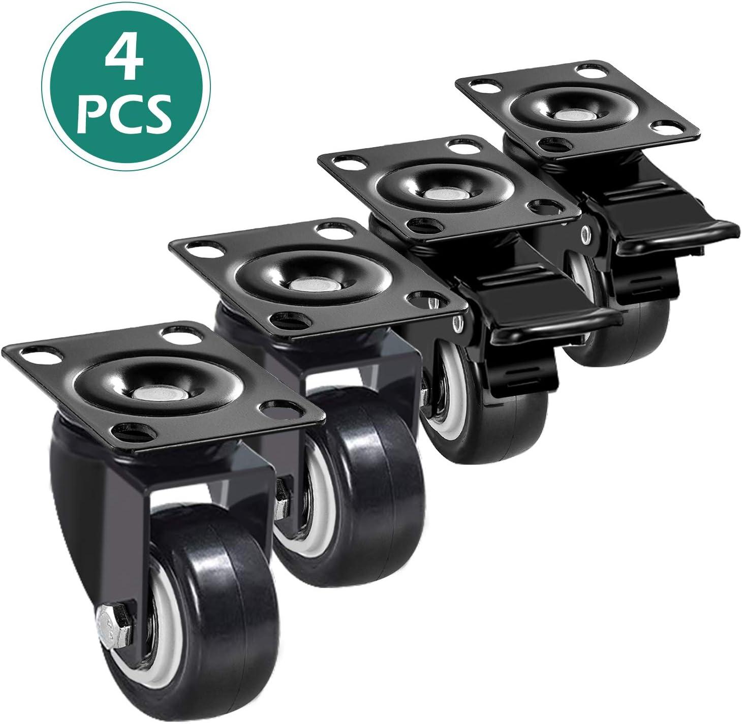 Ruedas para Muebles ruedas para Todos los Suelos Incluida la Madera Dura GeeRic 4 Pcs Ruedas Giratorias 50mm 200kg 360/° Ruedas para Sillas de Oficina Con Freno Industrial Con Placa de Montaje