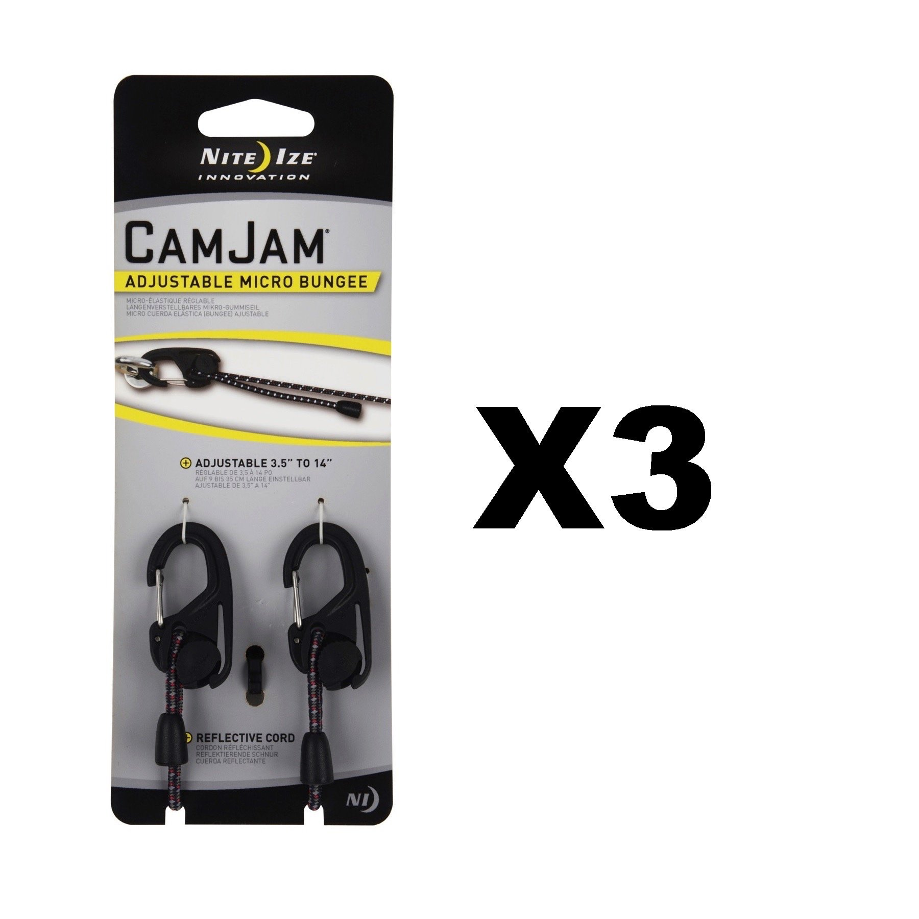 Nite Ize CamJam Adjustable Micro Bungee Cord 3.5''-14'' w/Biner Clips (3-Pack)