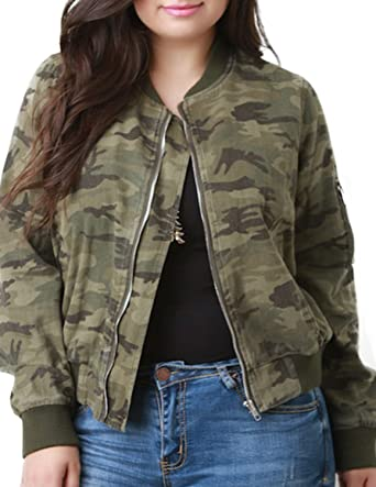 84809a9c22353 HaoDuoYi Womens Plus Size Camo Wash Fray Round Neck Bomber Jacket (US14