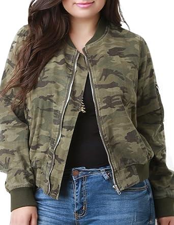 82920f284006 HaoDuoYi Womens Plus Size Camo Wash Fray Round Neck Bomber Jacket (US14