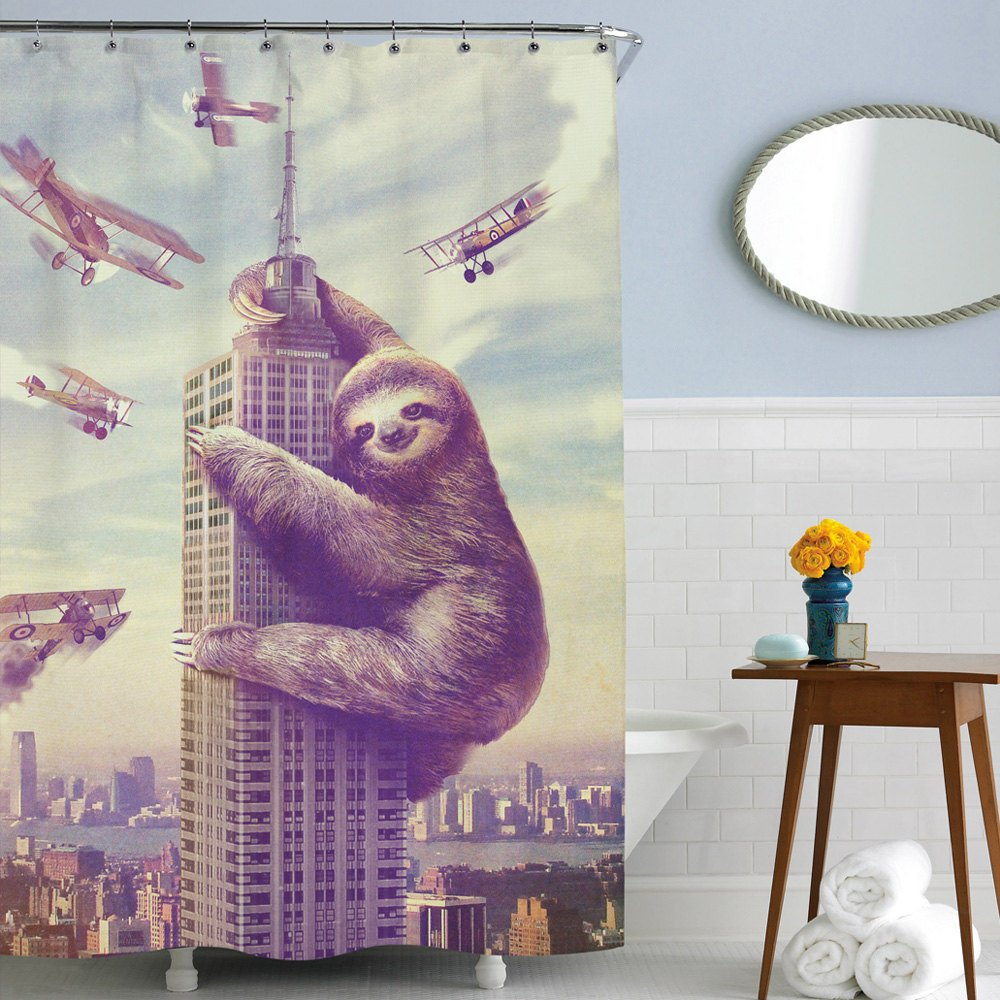 Amazon Slothzilla Funny Waterproof Shower Curtain Of Sloth Climbing In New York 72x72 Inches 12 Hooks Included Home Kitchen
