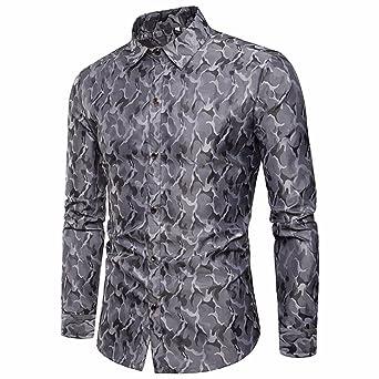db389908d9 Camisas hombre Paño de seda de diseño de camuflaje de los hombres de largo  camisa