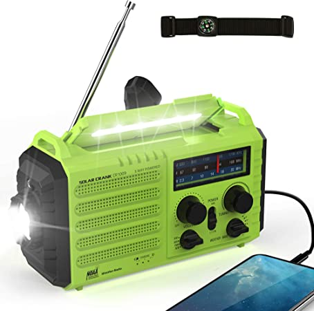 Weather Radio, 5000mAh Emergency Solar Hand Crank Portable Radio AM/FM/SW/NOAA Weather Radio with Cell Phone Charger, 3W LED Flashlight, Reading Lamp and SOS Alert for Storm, Camping & Survival