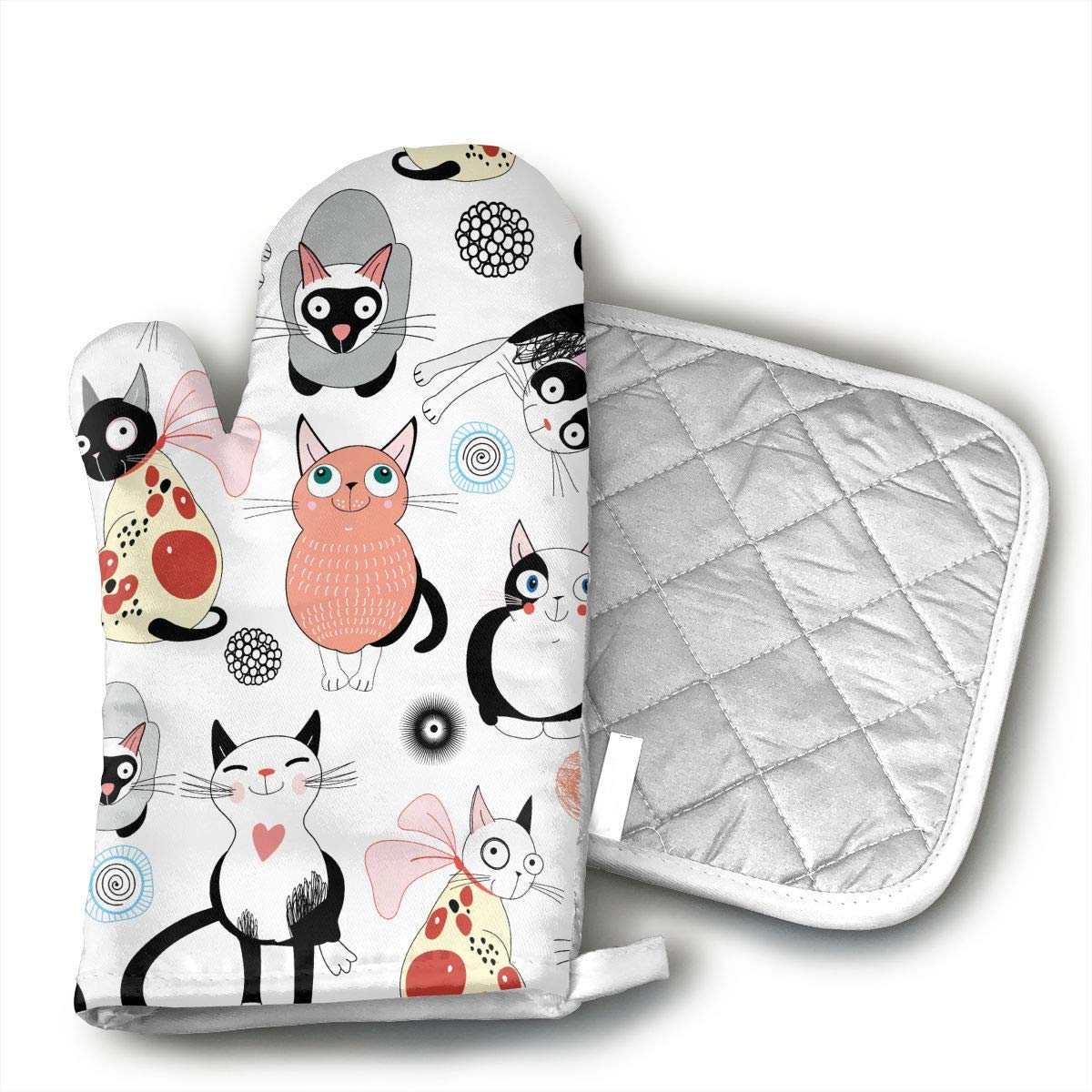 QEDGC Lead Free - Safe Children Fidget Toy Hand Spinner Curly Tail Cats Pattern Oven Mitts - air Non-Slip Kitchen Oven Gloves Cooking,Baking,Grilling,Barbecue Potholders,