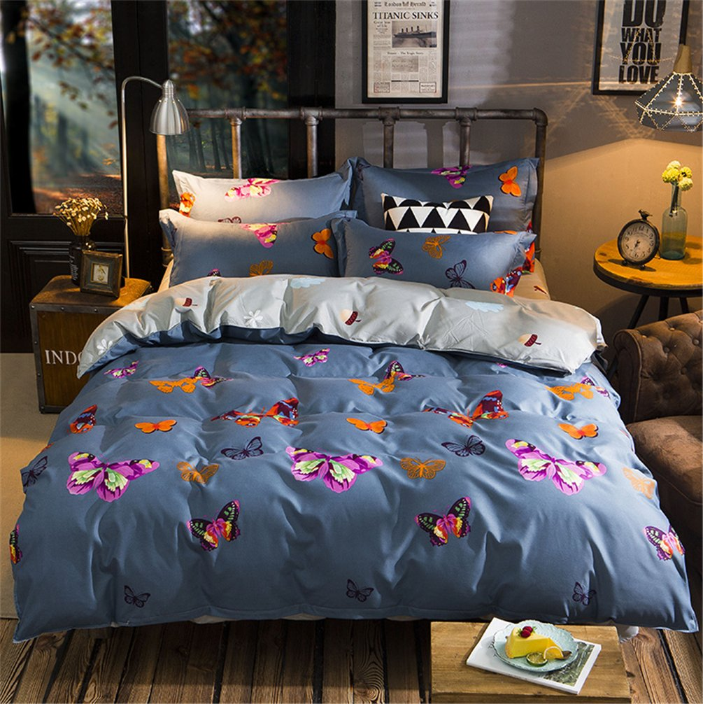 Full/Queen Size 3pcs Bedding Sets for Girls Women Colorful Butterflies Print Duvet Cover with Hidden Zipper Ultra Soft Cozy Hypoallergenic Microfiber Pillowcases