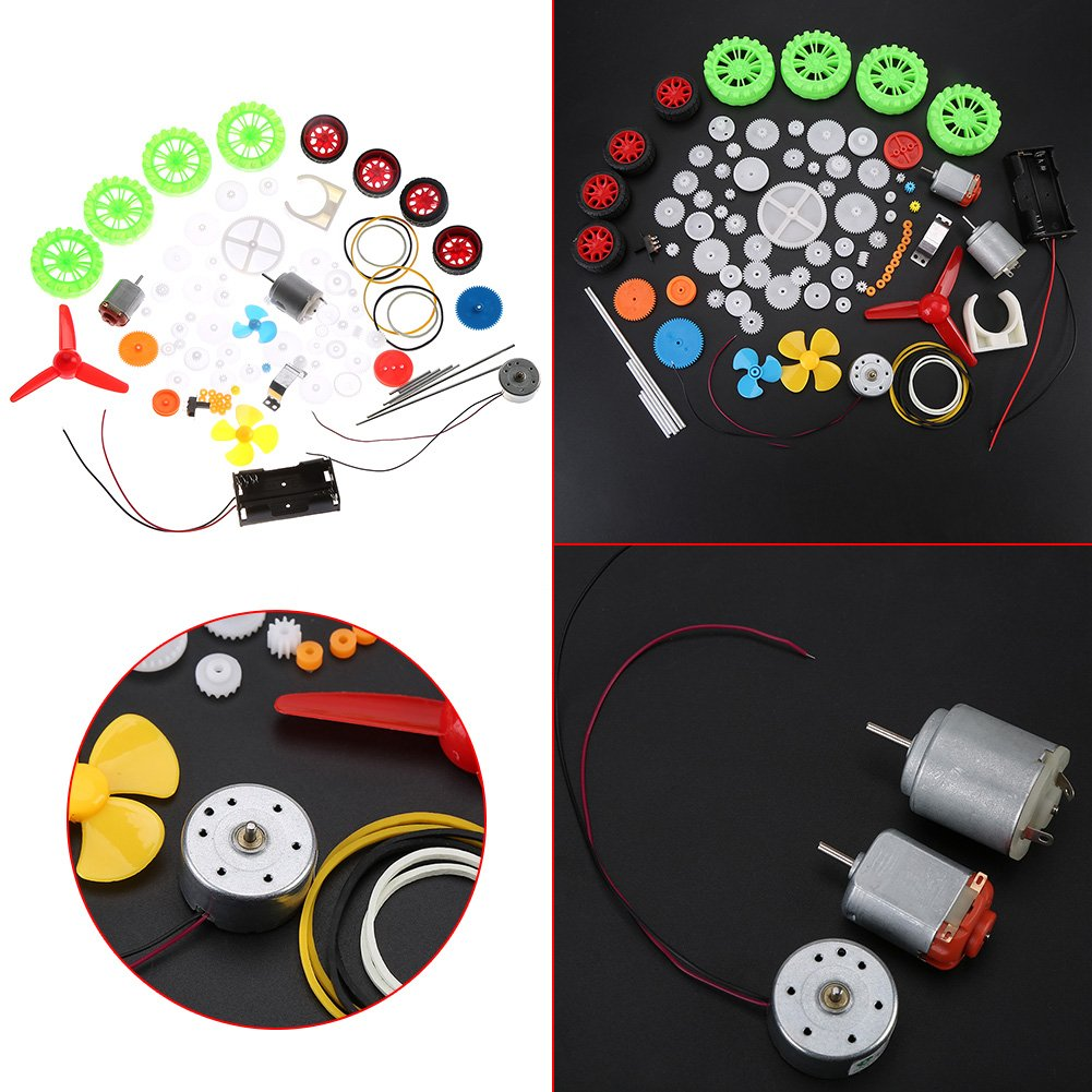 DIY Plastic Gears Kits Toy Car DIY Gears Motors Pulleys Kit Assortment Toy Gears Worms Belts Bushings Pulleys Replacement Parts Kit