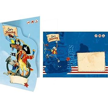16 Teiliges Einladungskarten Set * CAPTu0027N SHARKY * Für Kindergeburtstag  Oder Mottoparty