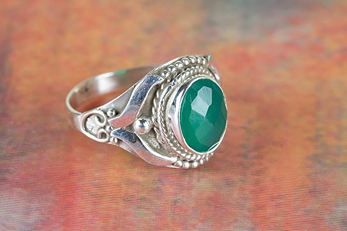 e6616c33435cf Amazon.com: Green Onyx Ring, 925 Sterling Silver, Checkered Gemstone ...