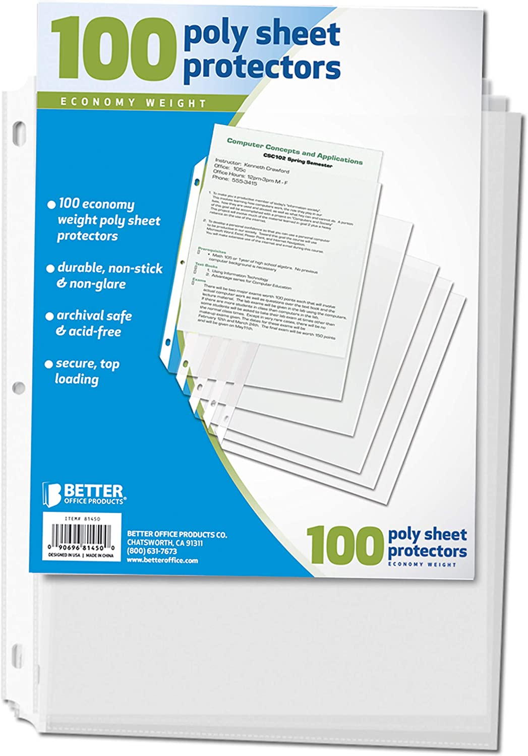 100 Count Better Office Products 81450 Sheet Protectors