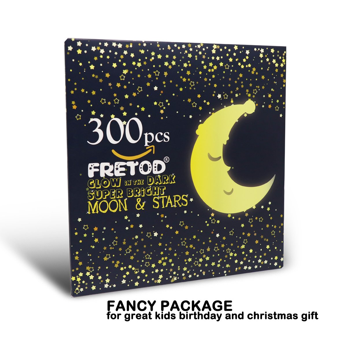 Glow in The Dark Moon and Stars - 300PCS - 9.4'' Large Moon and Various Size Fluorescent Stars for Ceiling Decoration in Kids Room by FRETOD (Image #7)