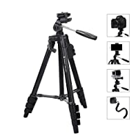 "Camera Phone Tripod Fotopro 48"" Compact Lightweight Tripod Max Load 4.4 lbs Travel Cellphone Tripod with Phone Tripod Mount & Bluetooth Remote,Adapter Mount,Quick Release Plate"