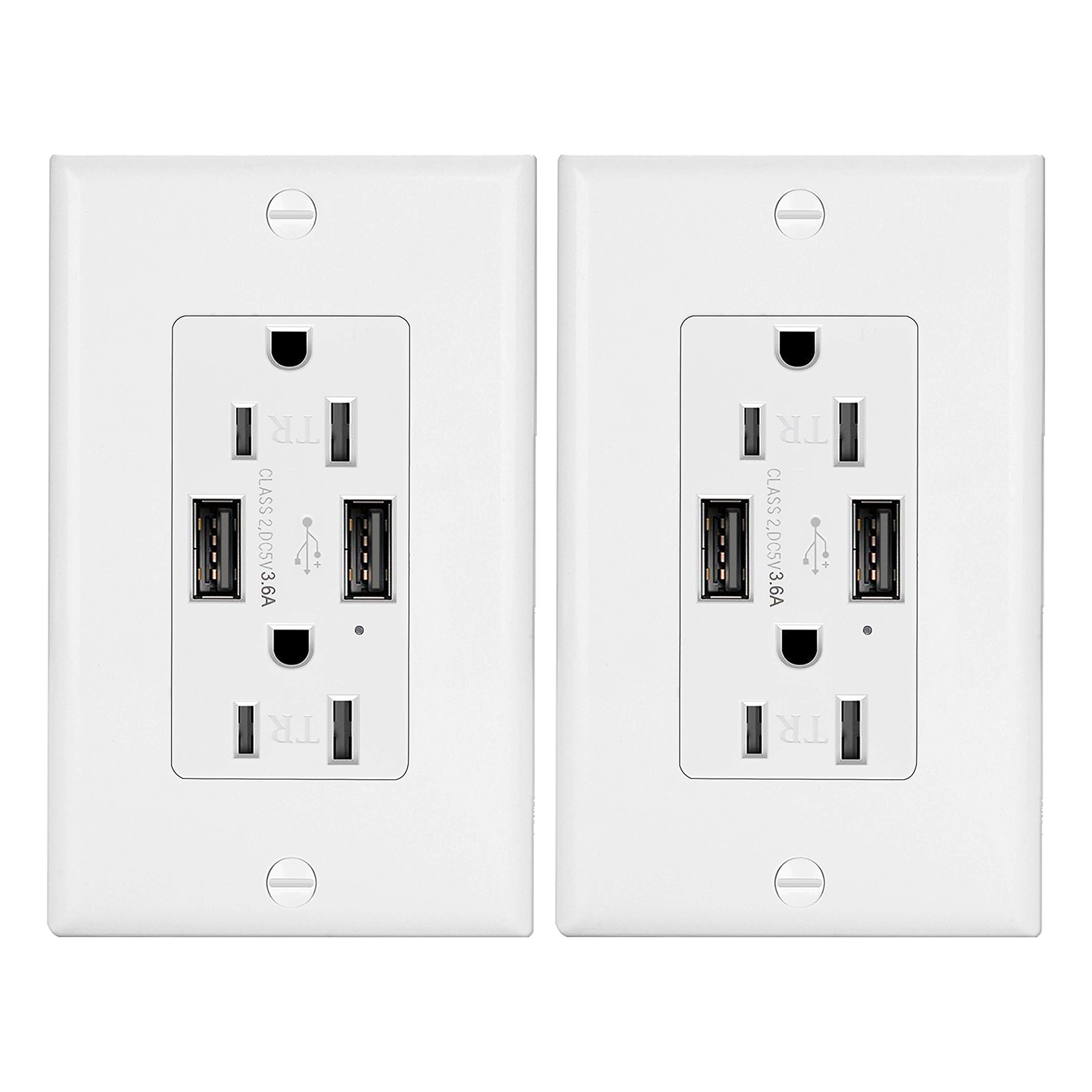 2 Pack - ELECTECK 3.6A USB Outlet, 15A Tamper-Resistant Receptacle with Dual Type-A Charging Ports, Stable Wall Charger for iPhone Xs/XR/X, Samsung Galaxy S9/S8/S7, LG, HTC & Other Smartphones, White