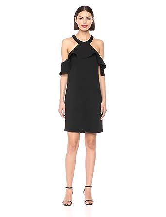 f65519d4 Trina Trina Turk Women's Jurnee Ruffle Cold Shoulder Dress, Black Diamond  Ponte, ...