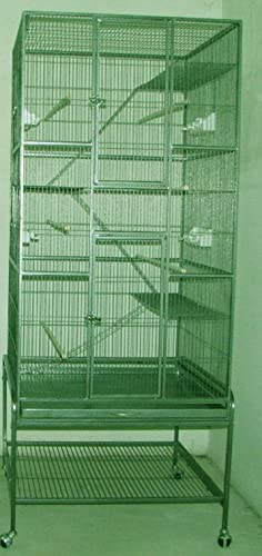 New Extra Large Wrought Iron Bird Parrot Cage Cockatiel Conure Large 30 x18 x72 H With Stand On WheelsGreen Vein
