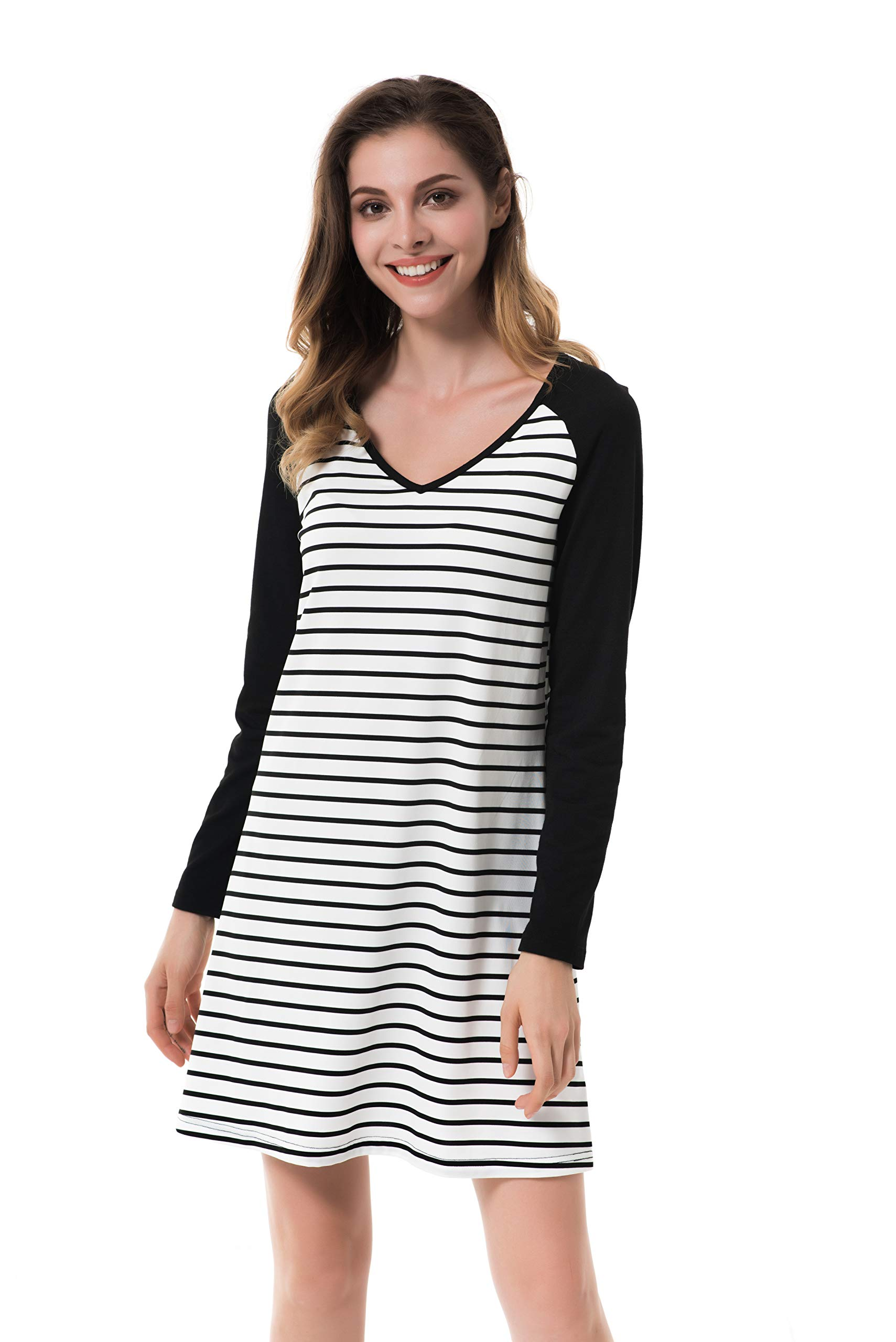 Apperloth Women's Fall V Neck Dress Striped Casual Swing Tunic Loose Dresses (Style 4, S)