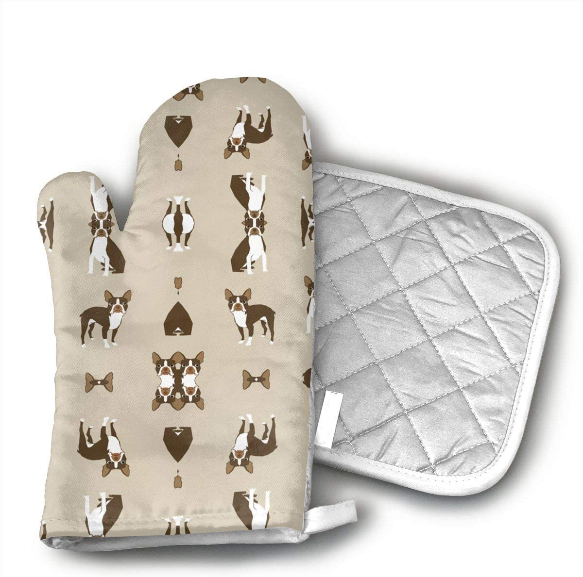 Brown Boston Terrier Dog Fabric 3089(2794) Oven Mitts Heat Resistant Kitchen Gloves and Potholders BBQ Gloves-Cotton Pot Holders Non Slip Oven Gloves for Kitchen